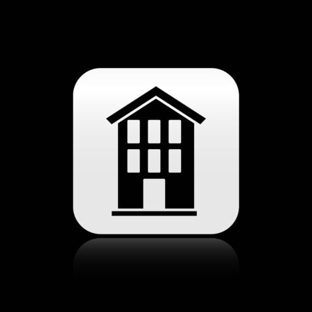 Black House icon isolated on black background. Home symbol. Silver square button. Vector.