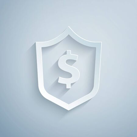 Paper cut Shield with dollar symbol icon isolated on grey background. Security shield protection. Money security concept. Paper art style. Vector. Vectores