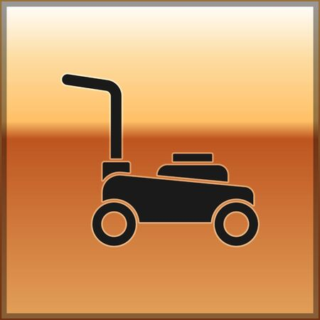 Black Lawn mower icon isolated on gold background. Lawn mower cutting grass. Vector. Vectores