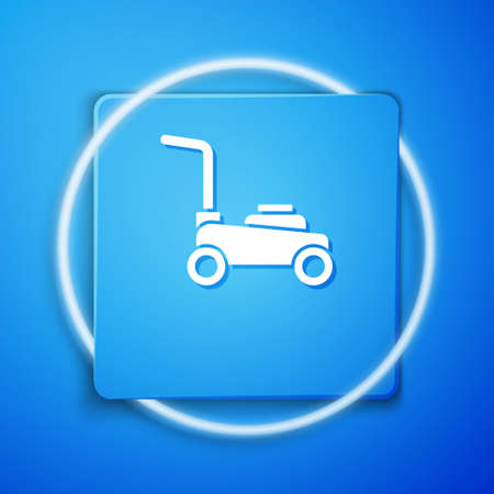 White Lawn mower icon isolated on blue background. Lawn mower cutting grass. Blue square button. Vector.