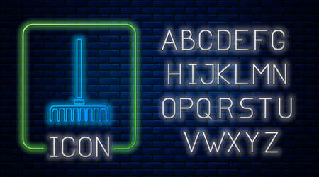 Glowing neon Garden rake icon isolated on brick wall background. Tool for horticulture, agriculture, farming. Ground cultivator. Neon light alphabet. Vector.