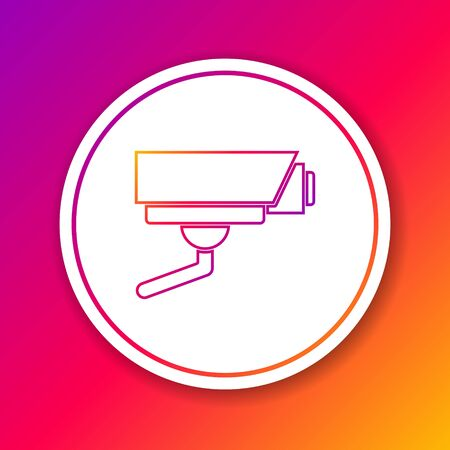 Color line Security camera icon isolated on color background. Circle white button. Vector.