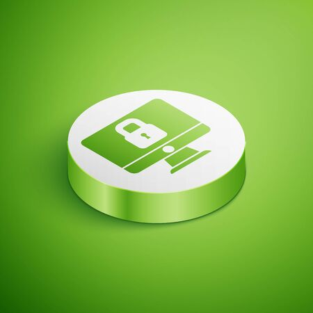 Isometric Lock on computer monitor screen icon isolated on green background. Security, safety, protection concept. Safe internetwork. White circle button. Vector. Ilustracja