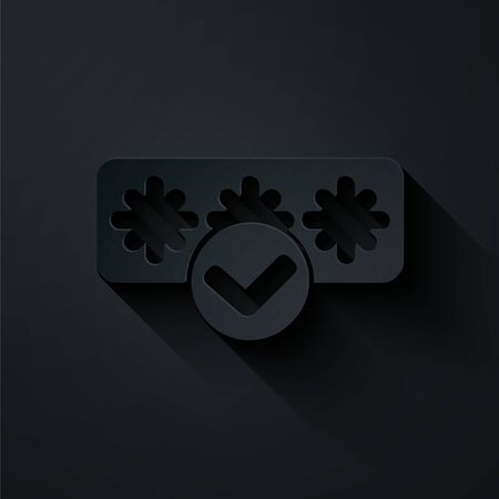 Paper cut Password protection and safety access icon isolated on black background. Security, safety, protection, privacy concept. Paper art style. Vector.