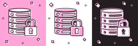 Set Server security with closed padlock icon isolated on pink and white, black background. Security, safety, protection concept. Vector. Ilustracja