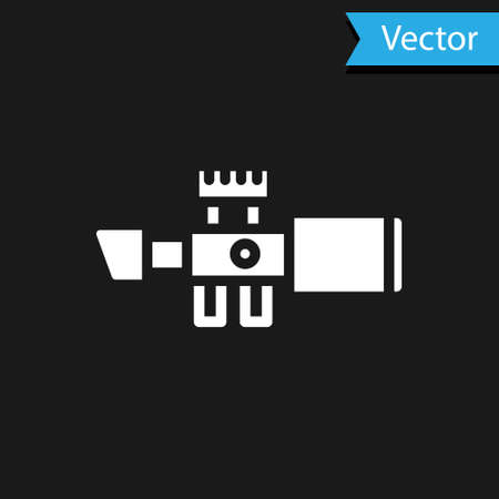 White Sniper optical sight icon isolated on black background. Sniper scope crosshairs. Vector.