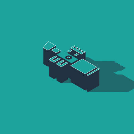 Isometric Sniper optical sight icon isolated on green background. Sniper scope crosshairs. Vector.  イラスト・ベクター素材
