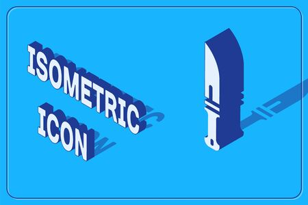 Isometric Hunter knife icon isolated on blue background. Army knife. Vector.