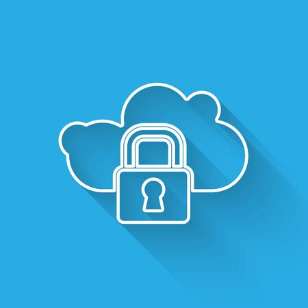 White line Cloud computing lock icon isolated with long shadow. Security, safety, protection concept. Protection of personal data. Vector.
