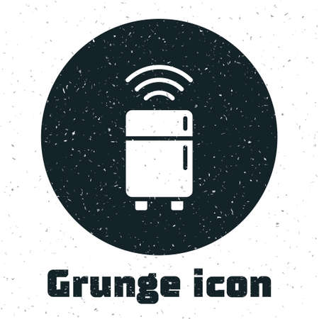 Grunge Smart refrigerator icon isolated on white background. Fridge freezer refrigerator. Internet of things concept with wireless connection. Monochrome vintage drawing. Vector. Vettoriali