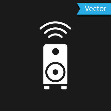 White Smart stereo speaker system icon isolated on black background. Sound system speakers. Internet of things concept with wireless connection.  Vector. Stock fotó - 150583118