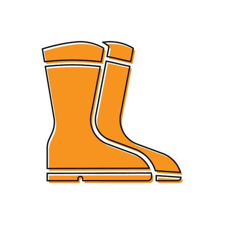 Orange Fishing boots icon isolated on white background. Waterproof rubber boot. Gumboots for rainy weather, fishing, hunter, gardening. Vector.