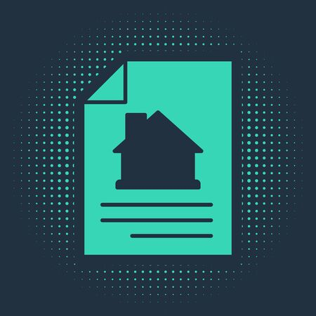 Green House contract icon isolated on blue background. Contract creation service, document formation, application form composition. Abstract circle random dots. Vector. 向量圖像