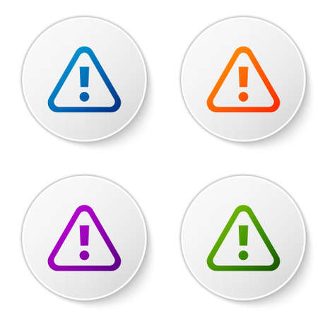 Color Exclamation mark in triangle icon isolated on white background. Hazard warning sign, careful, attention, danger warning sign. Set icons in circle buttons. Vector.