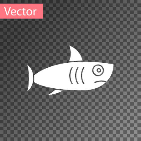 White Shark icon isolated on transparent background.  Vector..
