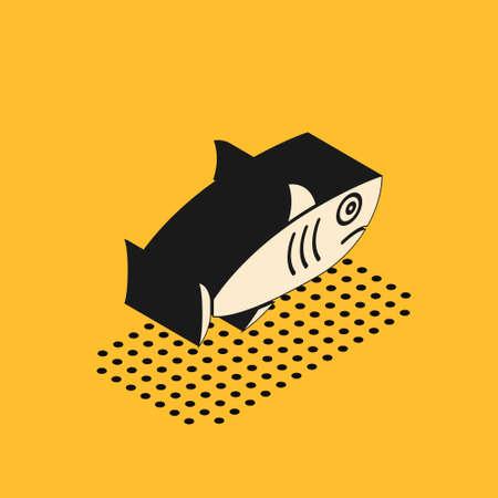 Isometric Shark icon isolated on yellow background.  Vector..