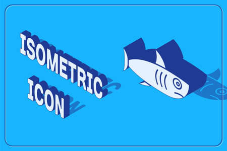 Isometric Shark icon isolated on blue background.  Vector..