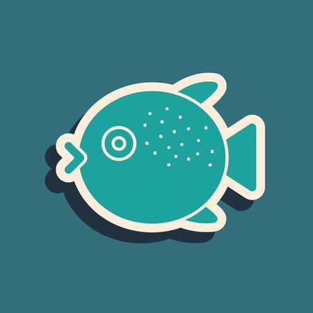 Green Puffer fish icon isolated on green background. Fugu fish japanese puffer fish. Long shadow style. Vector..