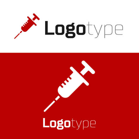Red Syringe icon isolated on white background. Syringe for vaccine, vaccination, injection, flu shot. Medical equipment. Logo design template element. Vector. 向量圖像