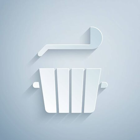 Paper cut Sauna bucket and ladle icon isolated on grey background. Paper art style. Vector. Vectores