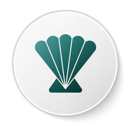Green Scallop sea shell icon isolated on white background. Seashell sign. White circle button. Vector..