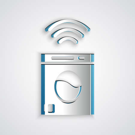 Paper cut Smart washer system icon isolated on grey background. Washing machine icon. Internet of things concept with wireless connection. Paper art style. Vector.