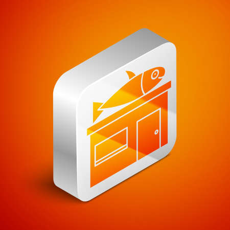 Isometric Seafood store icon isolated on orange background. Facade of seafood market. Silver square button. Vector..