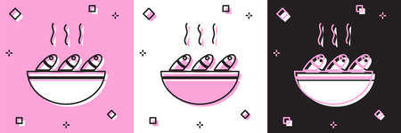 Set Fish soup icon isolated on pink and white, black background. Vector..