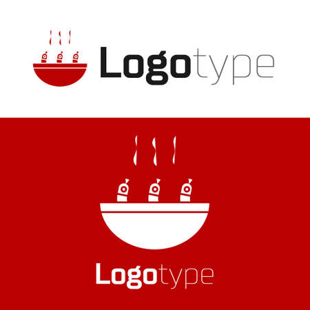 Red Soup with shrimps icon isolated on white background. Tom yum kung soup. Logo design template element. Vector..