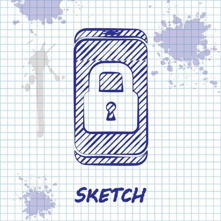 Sketch line Smartphone with closed padlock icon isolated on white background. Phone with lock. Mobile security, safety, protection concept. Vector.