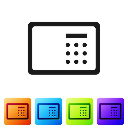 Black Safe icon isolated on white background. The door safe a bank vault with a combination lock. Reliable Data Protection. Set icons in color square buttons. Vector.
