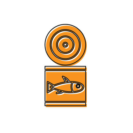 Orange Canned fish icon isolated on white background. Vector..