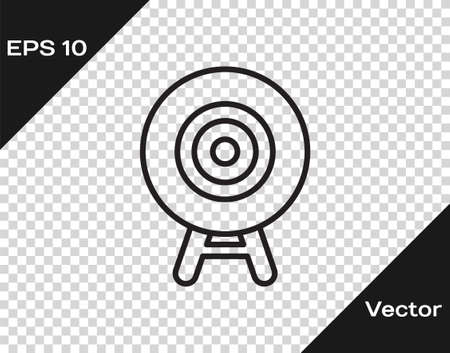 Black line Target sport icon isolated on transparent background. Clean target with numbers for shooting range or shooting. Vector.  イラスト・ベクター素材