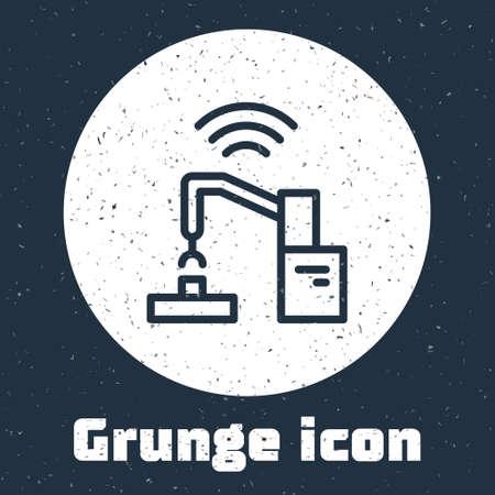 Grunge line Industrial machine robotic robot arm hand factory icon isolated on grey background. Industrial robot manipulator. Monochrome vintage drawing. Vector. Ilustração