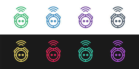 Set line Robot vacuum cleaner icon isolated on black and white background. Home smart appliance for automatic vacuuming, digital device for house cleaning.  Vector.
