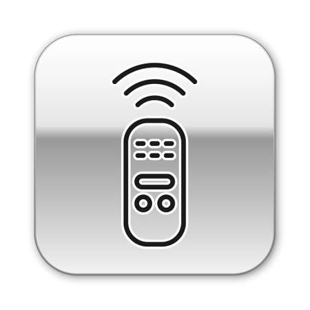 Black line Smart remote control system icon isolated on white background. Internet of things concept with wireless connection. Silver square button. Vector. 向量圖像
