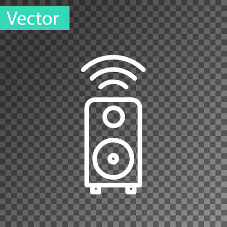 White line Smart stereo speaker system icon isolated on transparent background. Sound system speakers. Internet of things concept with wireless connection. Vector. Stock fotó - 150587747
