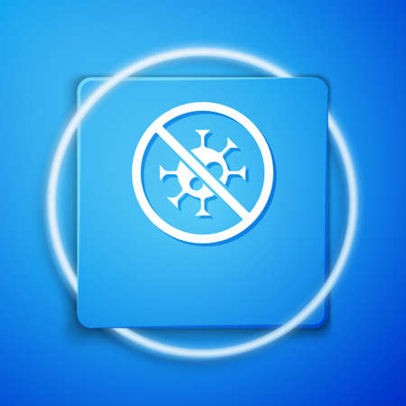 White Stop virus icon isolated on blue background. Corona virus 2019-nCoV. Bacteria and germs, cell cancer, microbe, fungi. Blue square button. Vector..