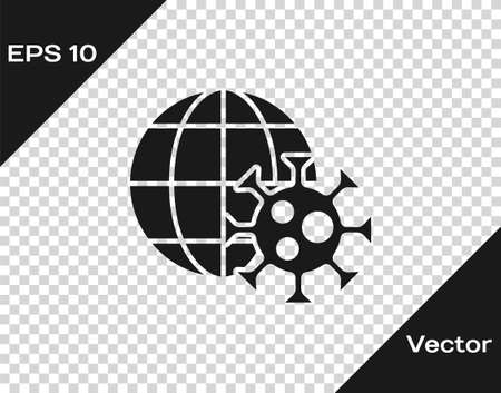 Black Earth globe with virus icon isolated on transparent background. Corona virus 2019-nCoV. Bacteria and germs, cell cancer, microbe, fungi. Vector..
