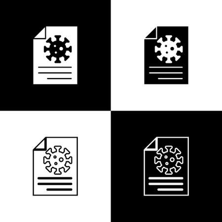 Set Medical clipboard with blood test results icon isolated on black and white background. Clinical record, medical check marks report. Vector.. Ilustrace