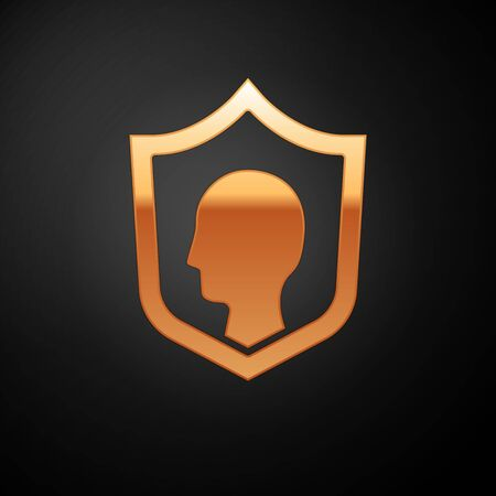Gold Life insurance with shield icon isolated on black background. Security, safety, protection, protect concept.  Vector.. Ilustração