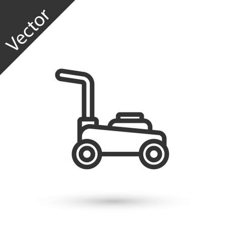 Grey line Lawn mower icon isolated on white background. Lawn mower cutting grass. Vector.
