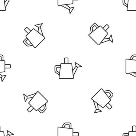 Grey line Watering can icon isolated seamless pattern on white background. Irrigation symbol.  Vector.