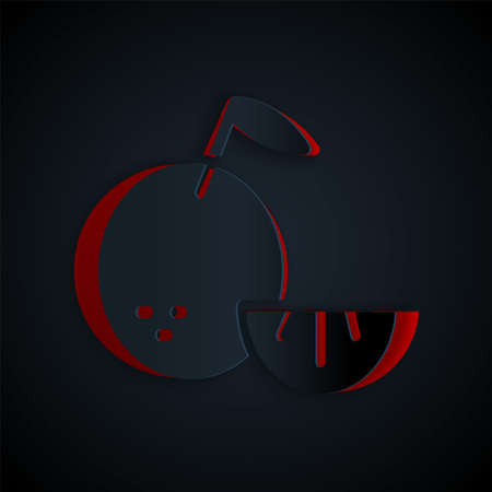 Paper cut Citrus fruit icon isolated on black background. Orange in a cut. Healthy lifestyle. Paper art style. Vector.