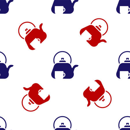 Blue and red Traditional tea ceremony icon isolated seamless pattern on white background. Teapot with cup.  Vector. Ilustrace