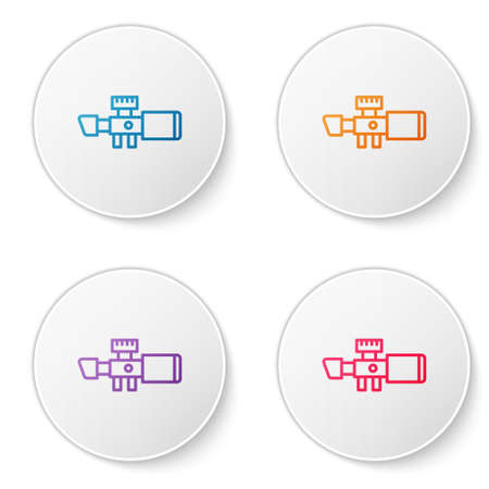 Color line Sniper optical sight icon isolated on white background. Sniper scope crosshairs. Set icons in circle buttons. Vector.