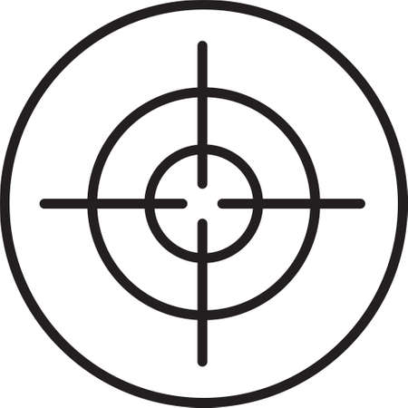 Black line Target sport icon isolated on white background. Clean target with numbers for shooting range or shooting. Vector.