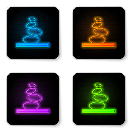 Glowing neon Stack hot stones icon isolated on white background. Spa salon accessory. Black square button. Vector.