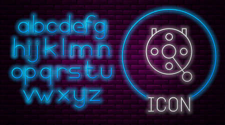 Glowing neon line Spinning reel for fishing icon isolated on brick wall background. Fishing coil. Fishing tackle. Neon light alphabet. Vector.