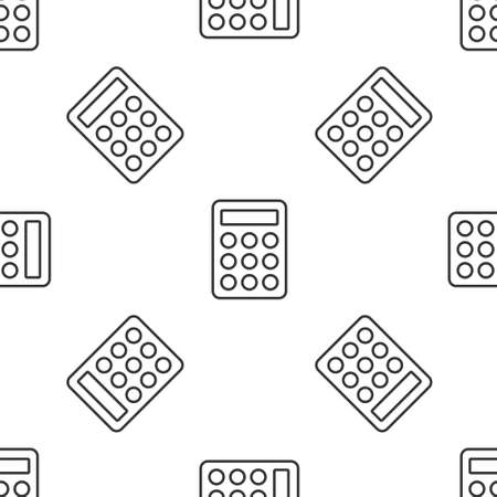 Grey line Password protection and safety access icon isolated seamless pattern on white background. Security, safety, protection, privacy concept.  Vector.
